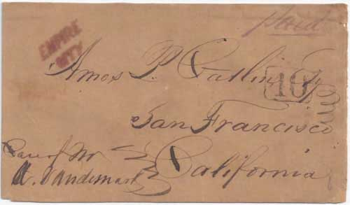 Figure 6-15. Letter posted September 17, 1849 on board the Empire City Line's Empire City and then carried by the PMSS Unicorn to California.