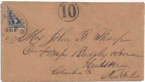 Figure 6-19. Letter postmarked at San Francisco on September 16, 1853 and carried by the PMSS John L. Stephens to Panama and the USMSC Illinois to New York.