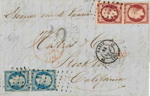 Figure 6-20. Letter sent from Paris, France to California on October 31, 1853. It was carried by RMSP steamships to Chagres and the PMSS J.L. Stephens to San Francisco.