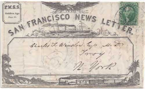 Figure 6-22. Letter postmarked at San Francisco on June 20, 1857 and carried by PMSS and USMSC steamships via Panama to New York.