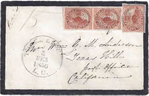 Figure 6-24. Letter postmarked at Three Rivers, Lower Canada on February 5, 1856 and carried by USMSC and PMSS steamships via Panama to San Francisco.