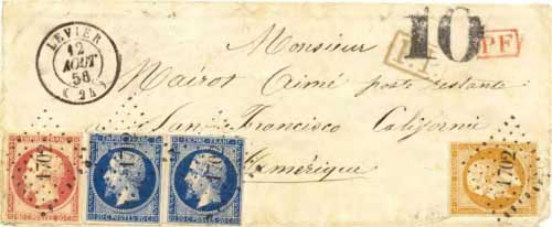 Figure 6-25. Letter postmarked at Levier, France on August 12, 1856 and carried by the Cunard line to New York, the USMSC to Aspinwall and the PMSS to San Francisco.