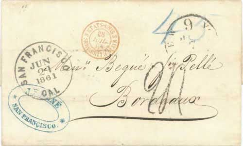 Figure 6-26. Letter postmarked at San Francisco on June 21, 1861 and carried by the PMSS Sonora to Panama and the North Star to New York.