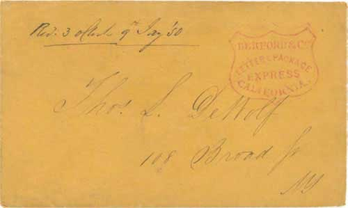 Figure 6-29. Letter carried by a Berford & Co. agent on the PMSS California to Panama and the USMSC Falcon to New York on January 8, 1850.