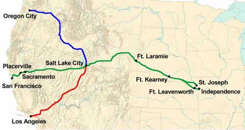 Figure 7-1. Map of the Central Route segments, consisting of Salt Lake City-Independence; Salt Lake City-Sacramento/Los Angeles; and Salt Lake City-Oregon.