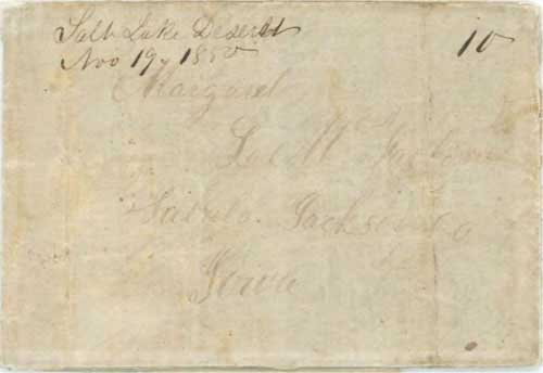 "Figure 7-2. Letter postmarked ""Salt Lake Deseret"" on November 19, 1850 and carried under the Woodson contract to Independence."