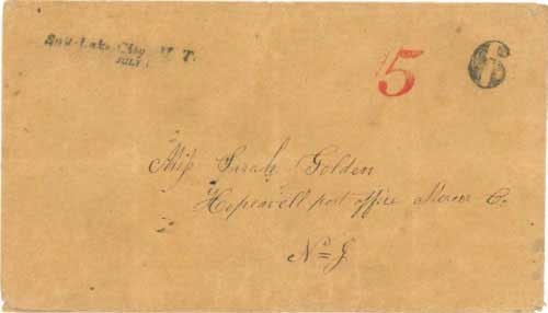 Figure 7-3. Letter postmarked Salt Lake City U.T. on July 1, 1851 and carried under the Woodson contract to Independence.