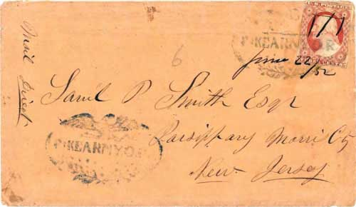 Figure 7-6. Letter postmarked at Fort Kearny O.R. (Oregon Route) on June 22, 1852 and carried under the Woodson contract to Independence.