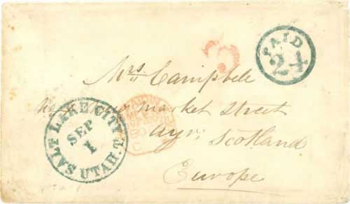 Figure 7-7. Letter postmarked at Salt Lake City on September 1, 1855 and carried under the Magraw contract to Independence.