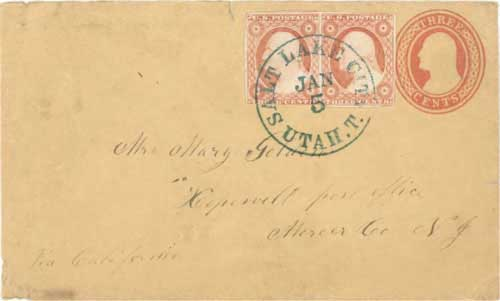 Figure 7-8. Letter postmarked at Salt Lake City on January 5, 1855 and directed to the Chorpenning California route because the Independence route was closed by snow.