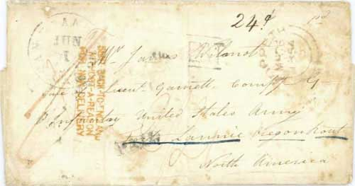 Figure 7-9. Letter posted on March 26, 1854 in Morpeth, England and mis-directed to Oregon. It was carried to Fort Laramie via Salt Lake City.