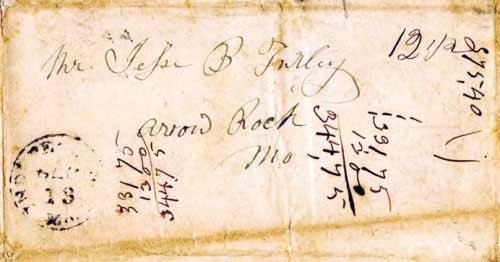 Figure 2-2. August 3, 1841 letter from Taos to Arrow Rock, Missouri that entered the mails at Independence on September 13.