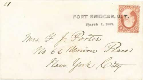 Figure 7-13. Letter postmarked at Fort Bridger U.T. on March 1, 1858 and carried under the Miles contract to Independence.