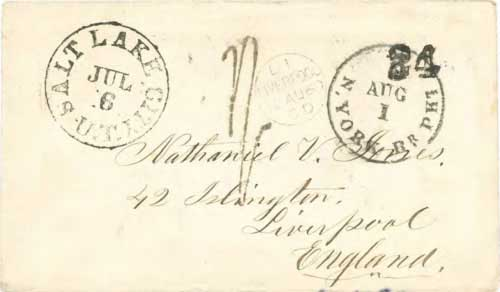 Figure 7-15. Letter postmarked at Salt Lake City U.T. (Utah Territory) on July 6, 1860 and carried under the COC&PP contract to St Joseph.