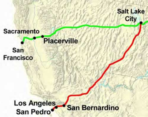 Figure 7-17. Map of the Chorpenning Route. The main route is in green and the alternate route via Los Angeles is in red.