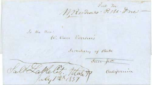 "Figure 7-18. Letter postmarked ""Salt Lake City Utah T"" on July 1, 1851 and carried on Chorpenning's first westbound contract mail trip to California."