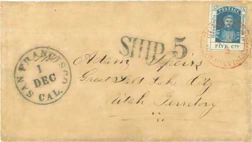 Figure 7-21. November 3, 1855 letter from Hawaii which was carried on the Chorpenning mail route via Los Angeles.