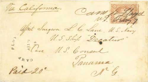 Figure 7-26. April 18, 1859 letter from Camp Floyd, Utah Territory to Panama which was carried by Chorpenning from Salt Lake City to Placerville.