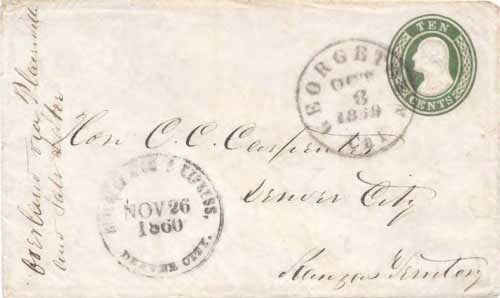 Figure 7-30. October 8, 1860 letter from Georgetown, California to Denver carried by the COC&PP to Julesburg, Colorado.