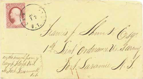 Figure 7-31. Letter postmarked at Camp Floyd U.T. (Utah Territory) on August 17, 1860 and carried under the COC&PP contracts to Fort Laramie, Nebraska