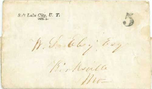 Figure 7-32. September 13, 1851 letter from Fort Boise carried by Brown and Torrence via Salt Lake City to Missouri.