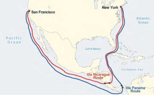 Figure 8-1. Map of the Nicaragua (red) and Panama (blue) transits.