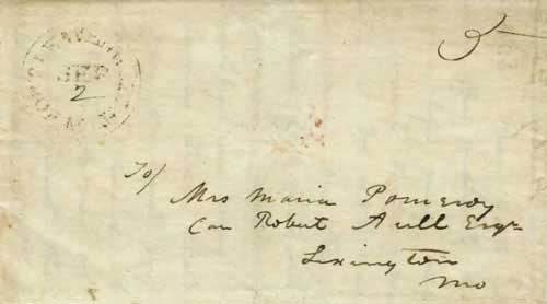 Figure 2-4. July 31, 1846 letter from Bent's Fort to Lexington, Missouri that entered the mails at Fort Leavenworth on September 2.