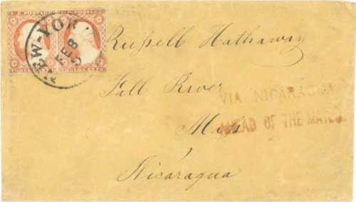 Figure 8-6. January 1854 San Francisco letter given to the Accessory Transit Co. for transport to New York via Nicaragua.