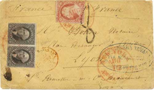 Figure 8-7. July 1854 San Francisco letter given to the Accessory Transit Co. for transport to France via Nicaragua and New York.