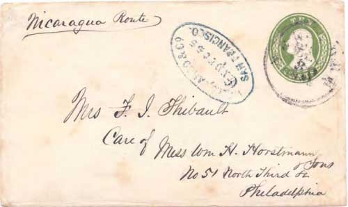 Figure 8-10. December 1855 San Francisco letter given to Wells, Fargo & Co. for forwarding to Philadelphia via Nicaragua and New York.