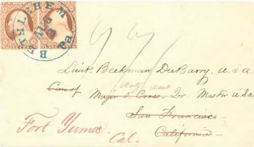 Figure 9-2. Letter postmarked at Bethlehem, Pennsylvania on August 2, 1854 and carried by steamers via Panama to San Francisco and forwarded to Fort Yuma by military steamers.