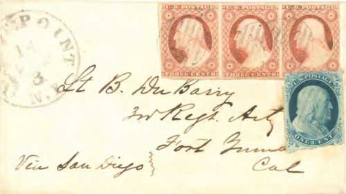 "Figure 9-3. Cover endorsed ""via San Diego"" and sent on September 14, 1855 from West Point to Fort Yuma, California."