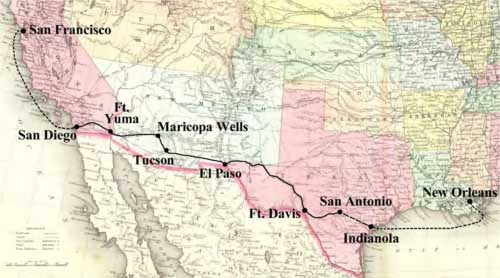 Figure 9-4. Map showing the entire San Diego and San Antonio (Jackass Mail) route.