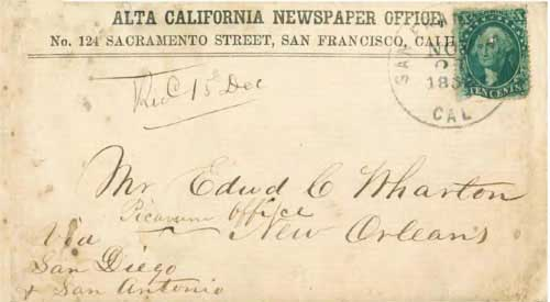 Figure 9-5. Imprint cover, endorsed via San Diego and San Antonio, sent November 21, 1859 from San Francisco to New Orleans.