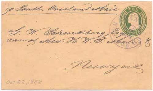 "Figure 9-7. Letter endorsed per ""South. Overland Mail"" and sent on October 22, 1858 from San Francisco to New York."