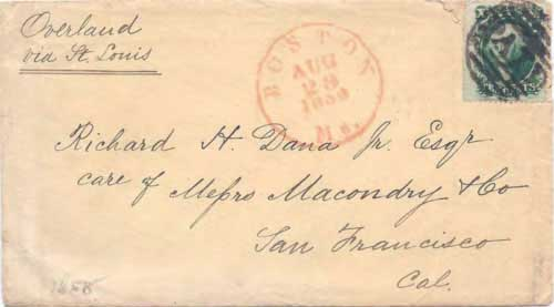 "Figure 9-8. Letter endorsed ""Overland via St. Louis"" and sent on August 29, 1859 from Boston to San Francisco."