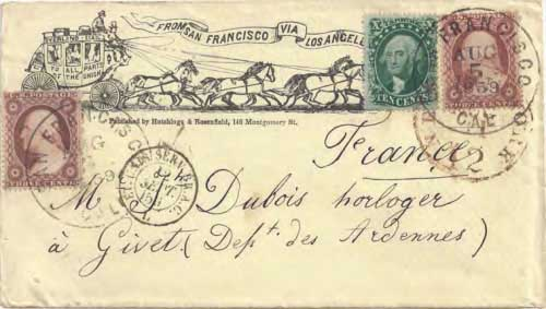 "Figure 9-10. Printed stagecoach envelope ""from San Francisco via Los Angeles"" sent on August 5, 1859 from San Francisco to France."
