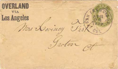 "Figure 9-9. ""Overland via Los Angeles"" printed envelope sent on April 29, 1859 from San Francisco to Connecticut."