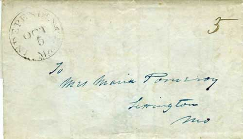 Figure 2-7. August 30, 1846 letter from Santa Fe to Missouri that entered the mails at Independence on October 5.
