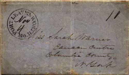 "Figure 2-10. October 2, 1846 letter written ""120 miles west of Santa Fe"" to New York that entered the mails at Fort Leavenworth on November 4."