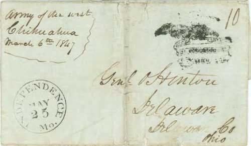 Figure 2-9. March 6, 1847 letter from Chihuahua, Mexico to Ohio that entered the mails at Independence on May 25.