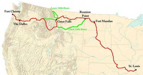 Figure 1-2. Map of Lewis and Clark's Expedition to the Pacific Coast.