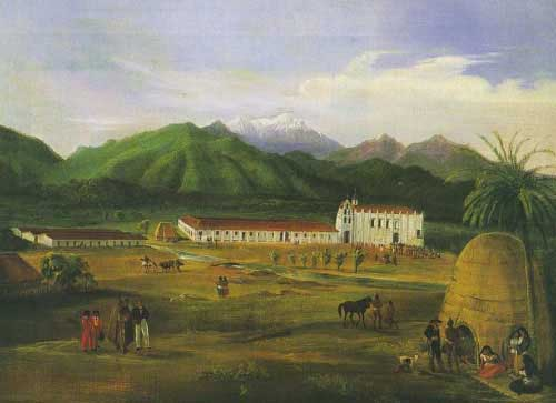 Figure 4-2. San Gabriel Mission painting by Ferdinand Deppe in 1832. (Santa Barbara Mission Archive Library)