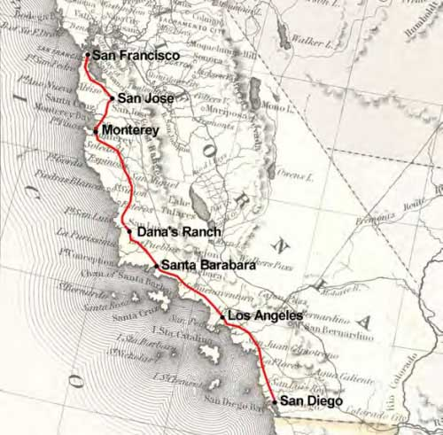 Figure 4-5. Map of the 1847 mail route between San Francisco and San Diego, California.