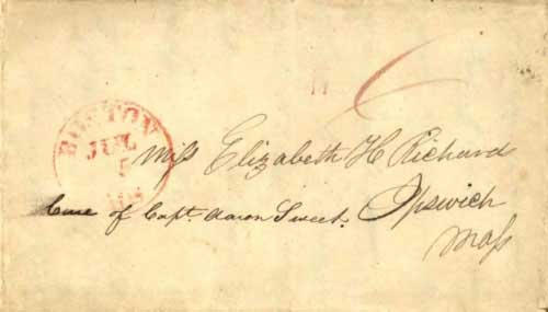 Figure 4-8. December 28, 1826 letter from the Island of Catalina and carried via Cape Horn to Boston.