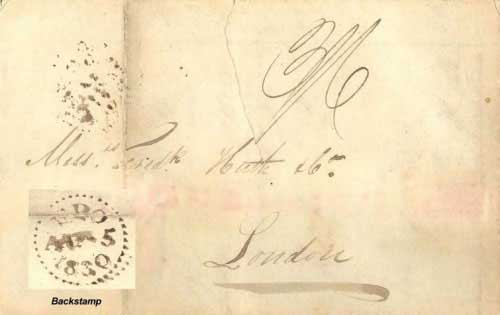 Figure 4-9. January 27, 1830 letter dated off the coast of California and carried around Cape Horn to London on August 5.