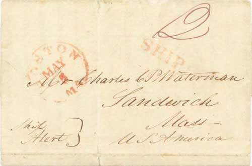 Figure 4-10. October 1, 1842 letter from San Diego and carried via Cape Horn to Boston.