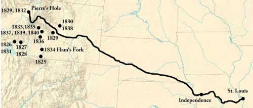 Figure 1-3. Map of the Platte River Road and Fur Trade Rendezvous.