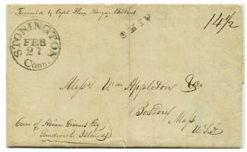 "Figure 4-11. July 30, 1844 letter dated at ""St. Francisco"" sent via Hawaii and around Cape Horn to Boston."