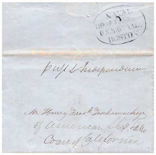 Figure 4-12. August 11, 1846 letter from East Boston carried by USS Independence around the Horn to the coast of California.